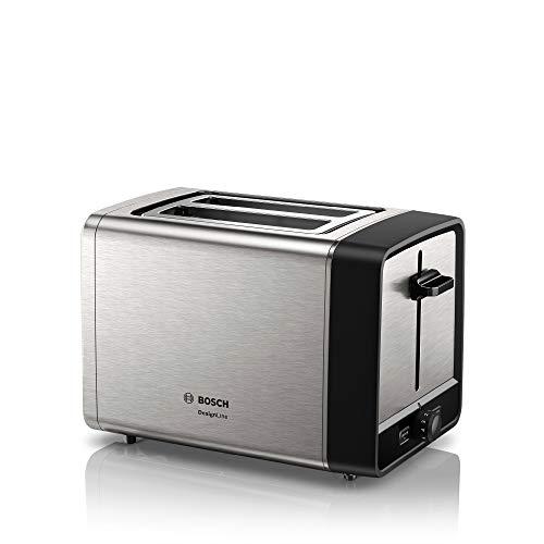 Bosch TAT5P420DE DesignLine Kompakt-Toaster, Auftau/Aufwärmfunktion, versenkbarer Brötchenaufsatz, Abschaltautomatik, 970 W, Edelstahl