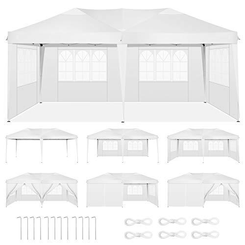 HOTEEL Carpa Plegable 3x6m Carpas y Cenadores Impermeable Cenador de Jardín Protección UV con 6 Paneles Laterales para Eventos al Aire Libre, 3x6m , Blanco