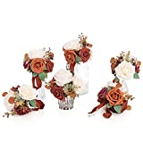 Ling's moment Wedding Flowers Set of 6 Pre-Made Small Floral Wedding Centerpieces Mini Flower Bouquets(Terracotta)