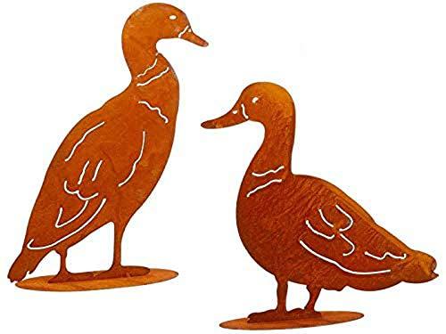 itsisa ® Dekofigur Ente im Rost Design, 2er Set, Rostfigur für den Garten, Gartendeko, Metalldeko