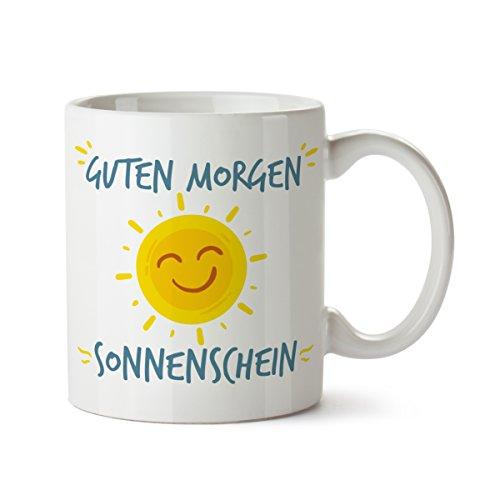 Partycards Tassen als Geschenkidee mit verschiedenen Motiven - Kaffebecher (Guten Morgen Sonnenschein, 300ml)
