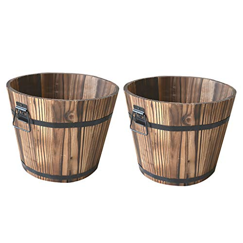 LOVIVER Set of 2 Rustic Wood Bucket Barrel Whiskey Flower Garden Planters Pot Wood Barrel Planters,Rustic Patio Planters Flower Pots Container Box with Drainage Holes for Indoor/Outdoor Garden Decor