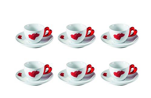 Guzzini 8008392290063 - Set 6 tazzine da caffè con piattini Love