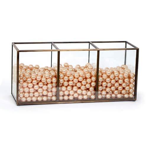 CANDIKO Glass Makeup Brush Holder Jar with Pearls Nebraska