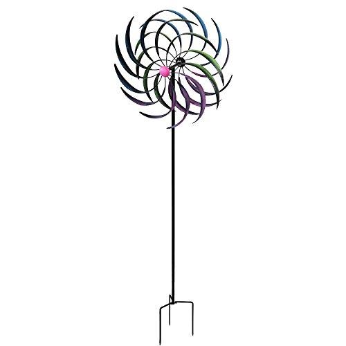 Multistore 2002 Wohaga® Doppel Windrad bunt mit Standstab inkl. Erdspieß H208cm Metall Windmühle Windspiel Gartendekoration