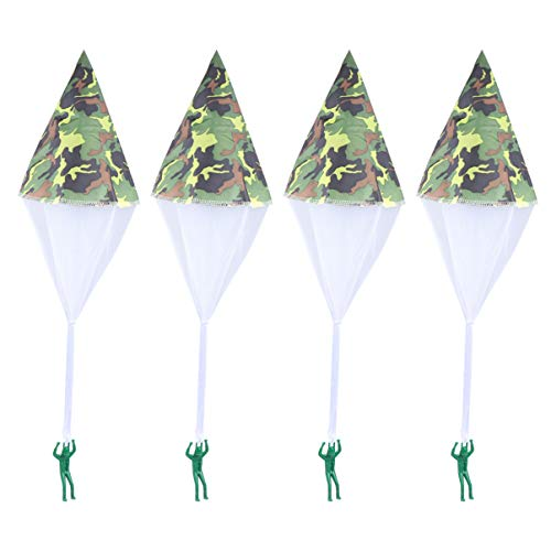 Tomaibaby 4pcs Parachute Toy, Tangle Free Throwing Toy Mini Soldier Parachute Toy Outdoor Childrens Flying Toys