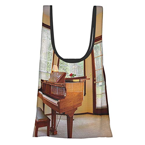 T-shop Antique Decor Round With Piano And Lots Of Windows Classic Architecture Furnished Family Reusable Fold Eco-Friendly Shopping Bags
