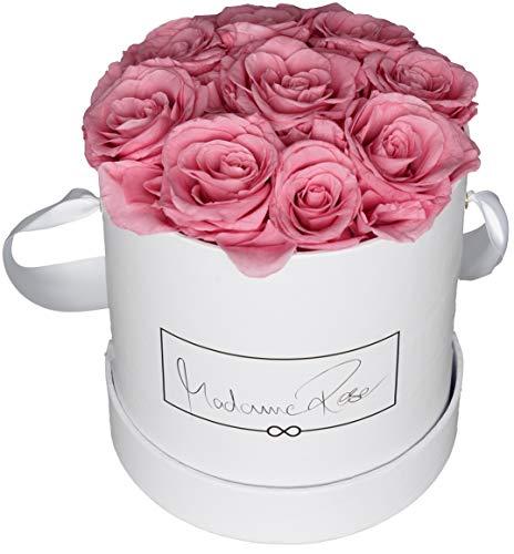 MadameRose Rosenbox rund mit 9 konservierten rosa Rosen in weißer Hutschachtel als Geschenk und Deko, Größe L