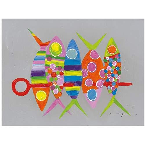 Peces rojos abstractos Carteles e impresiones Color gris brillante moderno Colorido Animal Picture Cartoon Fish Canvas Painting Home Decor 40x60cm (15.7x23.6in) Con marco