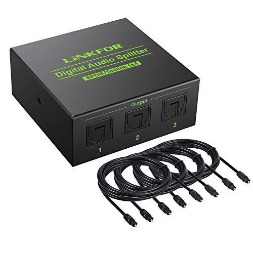 LiNKFOR digitaler Audio Splitter Aluminiumlegierung 1x4 SPDIF Toslink digitaler Audio Splitter Konverter Unterstützung LPCM 2.0 DTS Dolby-AC3 mit 4pcs 6,6 Fuß optischem Kabel für PS3 Xbox HDTV STB