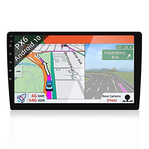 JOYX PX6 Android 10.0 Doppel Din Autoradio Mit GPS Navi -4G+64G - Rückfahrkamera KOSTENLOS - 10.1 Zoll HD Bildschirm - Unterstützen DAB+ Lenkradsteuerung 4G WiFi Bluetooth Mirrorlink Carplay OBD USB