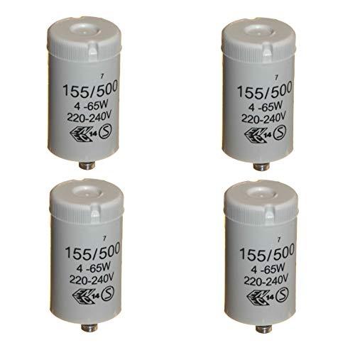 4 Stück Starter für 4–65 Watt T8 / T12 Einzel-Leuchtstoffröhre 220-240 V General Electric (GE) 155/500
