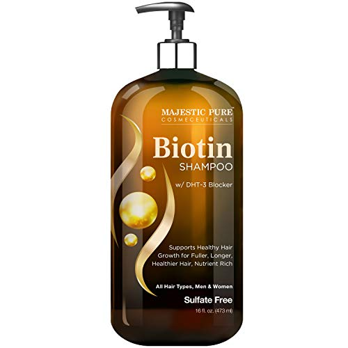 Majestic Pure Biotin Shampoo for Hair Growth - Volumizing Shampoo for Hair Loss - with DHT-3 Blocker - Hydrating & Nourishing - Sulfate Free, for Men & Women - Thin Hair Shampoo - 16 fl oz