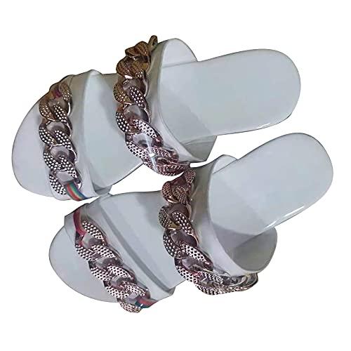 BAOFUBA Women's Sandals Kette Flip Flops Hausschuhe Beach Pool Badesandalen Open Shoes Slippers Flat Rome Women's Flip Flops Leisure Summer Shoes Casual Strand Bequeme Platform Sandals
