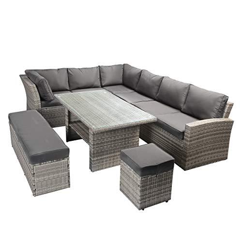 BRAST Poly-Rattan Gartenmöbel Essgruppe Lounge Set Sitzgruppe Outdoor Möbel Garten Garnitur Sofa Holidays Grau Anthrazit - 6