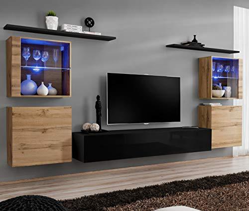 ASM Switch XIV Wandschrank, 320 cm breit, TV-Möbel, zwei Vitrinen, Glas, zwei quadratische Schränke, Push-Click-Türen, Wotan Eiche Schwarz Hochglanz