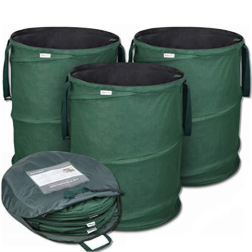 Glorytec Pop-Up Gartensack 3 x 170 Liter - Selbstaufstellende Gartenabfallsäcke aus extrem robustem Polyester Oxford 600D - langlebiges Laubsack Set mit noch stabilieren Nähten