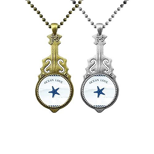Starfish Ocean Love Sea Sailing Blue Liebhaber Musik Gitarre Anhänger Schmuck Halskette Anhänger
