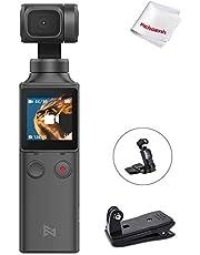 FIMI PALM 3軸ジンバルカメラ 4Kビデオカメラ 128°超広角 Wi-Fiでスマホと接続可 顔検出&スマートトラック 自撮り 3倍ズーム 外部マイクサポート パッククリップ拡張ホルダー同梱 安定性抜群 Pocket Gimbal Camera (パッククリップ キット)