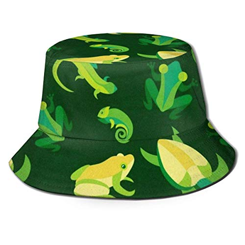 GodYo Bucket Hat Packable Reversible Sword Frogs and Reptiles Print Sun Hat Fisherman Hat Cap Camping al Aire Libre