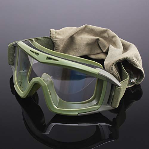 XIBALI Schutzbrillen,transparenter Windschutz Staubbeständige Antibeschlag-Anti-UV-Schlagfestigkeit,für sportwissenschaftliche Experimente im Freien oder Werksworkshops (Schwarz,Grün und Khaki)