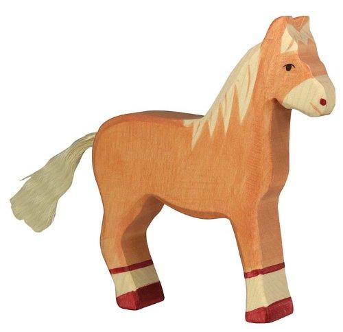 Holztiger Pferd, stehend, hellbraun, 80033