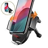 【赤外線自動独創版】Auckly車載Qi ワイヤレス充電器 車載 ホルダー 赤外線センサーによる自動開閉 柔らかいLEDライト10W/7.5W 急速ワイヤレス充電器 360度回転 エアコン吹き出し口&吸盤式両用iPhone 11 Pro Max X/XR/XS/XS MAX/8/8 Plus/Galaxy S10/S10 plus,Sony/HUAWEI 等に適用ワイヤレス充電機種に対応