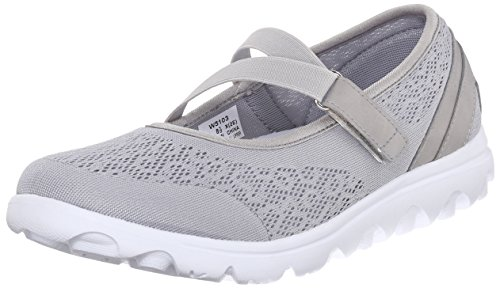 Propet Women's TravelActiv Mary Jane Flat, Silver, 8.5 2X-Wide