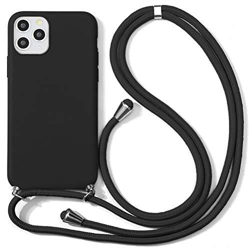 Eouine Capa transversal para Xiaomi Mi 8 Lite [6,25 polegadas] – Cordão de pescoço com capa Mi 8 Lite – Alça ajustável de silicone TPU (poliuretano termoplástico) preta antiarranhões – Preta