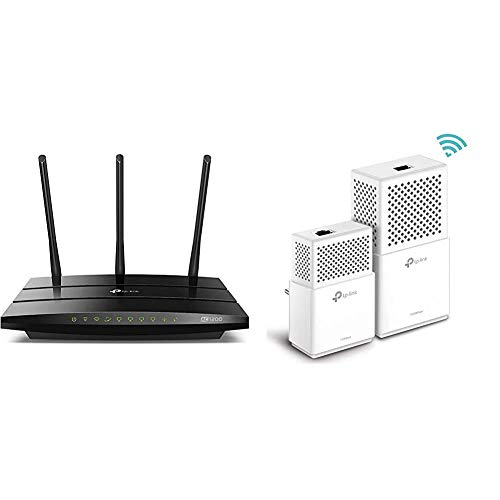 TP-Link Archer C1200 Gigabit Router Wi-Fi Dual Band AC1200 Wireless, 5 Porte Gigabit, 1 Porta USB & TL-WPA7510 Kit Powerline WiFi, AV1000 MBps su Powerline, 750 MBps su WiFi Dual Band