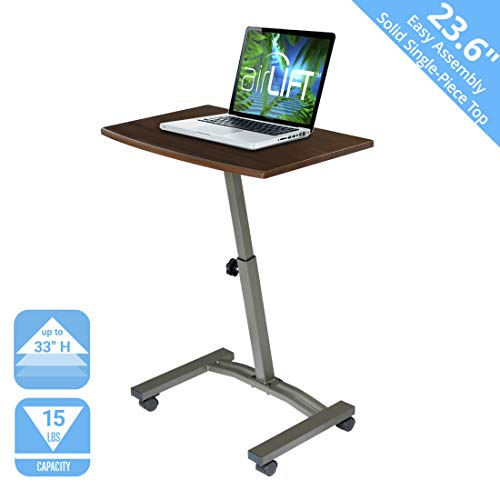Seville Classics 23.6' Solid-Top Height Adjustable Mobile Laptop Desk Cart (20.5' to 33' H)...