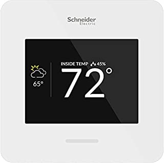 Schneider Electric Wiser Air Wi-Fi Smart Thermostat with Comfort Boost- White, Compatible with Alexa.