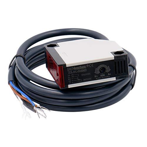 Heschen interruptor fotoeléctrico E3JK-R4M2 DC 12-24V retroalimentación reflexión tipo detección distancia 4m con panel reflector