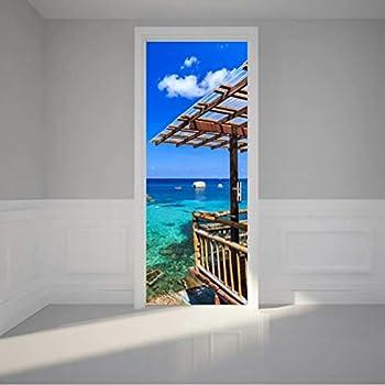 Tifege 3D Door Sticker Murals - DIY Decoration Poster Home Decor Wall Paper Wallpaper Art Removable Self Adhesive Thai Bamboo Shed Sea 30.3x78.7 DM073