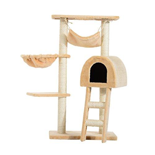 PawHut Árbol para Gatos Rascador con Poste para Arañar Nido Hamaca Plataforma Caseta Escalera Terciopelo Sisal Natural 55x30x100cm