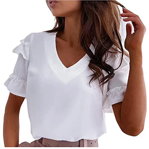 FOTBIMK De las mujeres Camisetas de Color Sólido Simple Ruffled T-Shirt Moda Suelta V-Cuello de Manga Corta Tops Verano Casual Camisetas