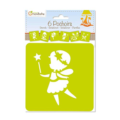 Avenue Mandarine 42839O Set (mit 6 Schablonen, 15 x 15 cm, geeignet für Kinder ab 3 Jahre, für Filz- und Farbstifte, Farben oder Farbbomben, Feen) 6er Pack