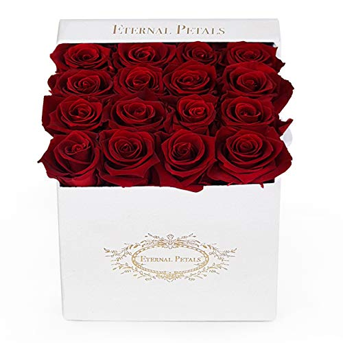 Real Roses That Last A Year - White Flower Box (Deep Red)