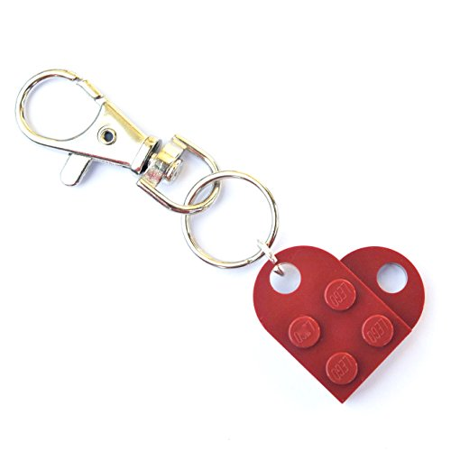 LEGO® Schlüsselanhänger Herz (Dark Red) Hochzeit, Freundin, Valentinstag