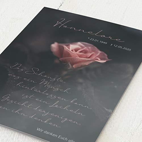 sendmoments Dankeskarten Trauer, Stille Rose, 5er Klappkarten-Set C6, personalisiert mit Text, wahlweise Roségoldfolien-Veredelung & persönliche Bilder, optional Design-Umschläge
