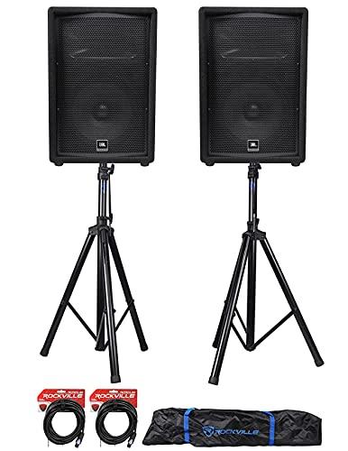 """(2) JBL Pro JRX212 12"""" 2000w Passive 8 Ohm PA/DJ Speakers+Stands+Cables JRX 212"""