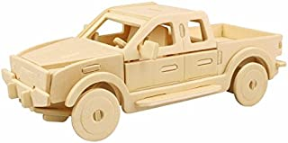 PONTE COLLECTION 3D Wooden Puzzle Building Kit Pickup Truck Car Model Wood Best Gift for Kids 23-pcs (Pickup Truck)