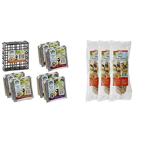 Dehner Natura Wildvogelfutter Tafel-Mix mit Spender, 7-teilig & Natura Wildvogelfutter, Maxi-Futterstange, 3 x 600 g (1,8 kg)