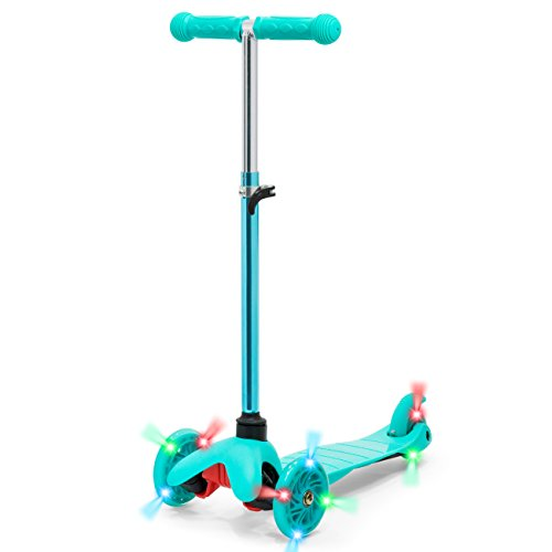 Best Choice Products Kids Mini Scooter w/ Light-Up Wheels and Height Adjustable T-Bar, Mint Blue