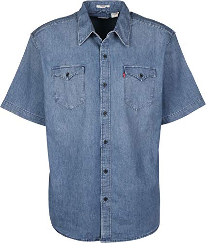 Levi's SS Modern Barstow Camisa, Green Cast Mid, L para Hombre