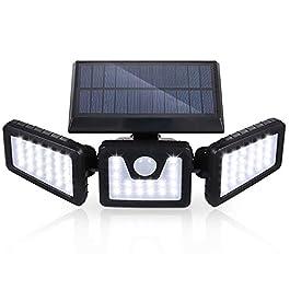 Lampe de rue murale à énergie solaire avec détecteur de mouvement PIR 3 têtes 70 LED IP65 résistante à l'eau Éclairage…