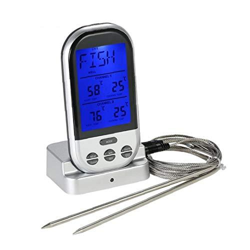 JRXyDfxn Wireless-Lebensmittel-Thermometer mit 2 Sonden LCD Display Barbecue Thermometer ? / ? Fernsteuerungs-Fleisch-Thermometer-Grill BBQ Kochen Thermometer Home Küchenzubehör Grau