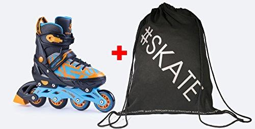 Spokey Turis Inline Skates + Ultrapower Beutelrucksack | Verstellbar | Sport | Outdoor | Roller | Rollerskates | Rollschuhe, Größe/Size:33-36, Farben:Schwarz - Blau - Orange