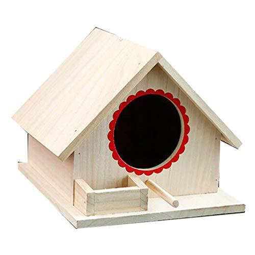 Yarnow Vogelnest Mini Holzhaus Vogelbeobachtung Haus Käfig Bett Desktop Ornament für DIY Handwerk Home Outdoor Garten Dekor (Zufällige Farbe)