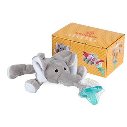 Isuper Chupete con Peluche para bebé,Juquete de muñeca infantil con Chupete de Silicona sin BPA forma de elefante animado para niños